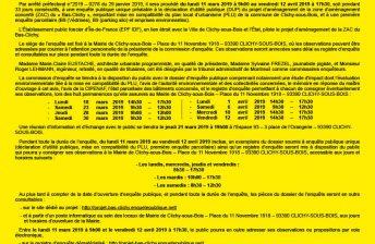 ENQUÊTE PUBLIQUE UNIQUE – PROJET D'AMÉNAGEMENT ZAC DU BAS-CLICHY
